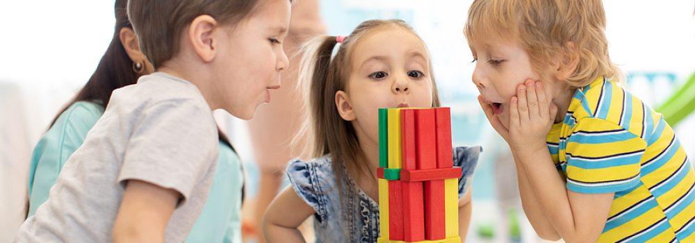 Little Kids Build Wooden Toys At Home Or Daycare. Emotional Kids